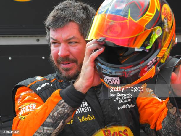 Martin Truex Jr Furniture Row Racing Bass Pro Shops/5hour ENERGY Toyota Camry removes during practice for the Monster Energy Cup Series Folds of...