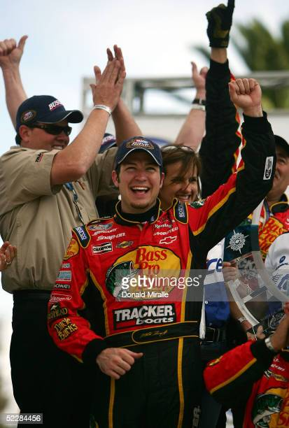 Martin Truex Jr. Of the U.S., driver of the Bass Pro Shops Chevrolet Monte Carlo, celebrates his victory in the Telcel Mexico 200 Nascar Busch Series...
