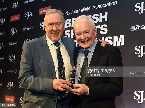 Martin Tyler receives The Commentator Award from Patrick Collins during the The SJA British Sports Journalism Awards on February 22 2016 in London...