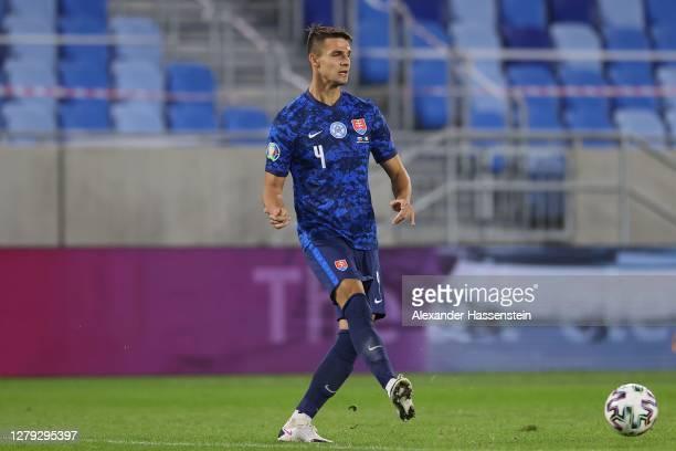 Martin Valjent of Slovakia runs with the ball during the UEFA EURO 2020 Play-Off Semi-Final match between Slovakia and Republic of Ireland at Tehelne...