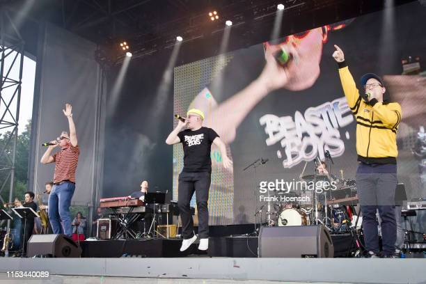 Martin Vandreier aka Dokter Renz Boris Lauterbach aka Koenig Boris and Bjoern Warns aka Bjoern Beton of the German band Fettes Brot perform live on...