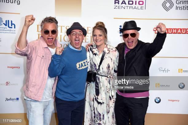 Martin Vandreier Boris Lauterbach and Bjoern Warns of the band Fettes Brot and Anne Raddatz attend the Deutscher Radiopreis at Elbphilharmonie on...