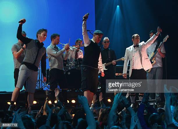 Martin Vandreier Boris Lauterbach and Bjorn Warns of Frette Brot Regional Award Winners for Germany perform during the MTV Europe Music Awards held...