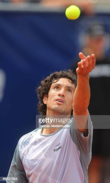 Martin Vassallo Arguello of Argentina serves the ball to Andrey Golubev of Kazakhstan during the MercedesCup at TC Weissenhof on July 15, 2009 in...