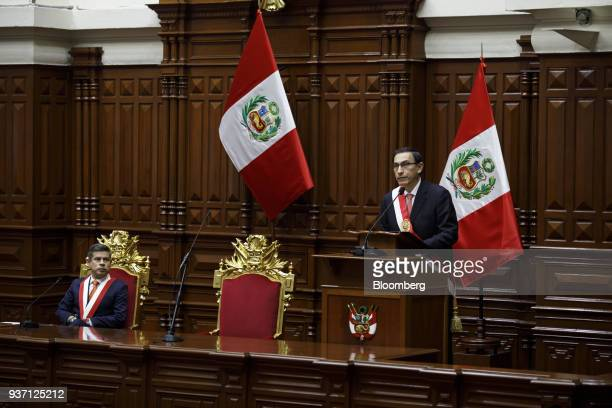 Martin Vizcarra Peru's president right speaks during a swearing in ceremony in Lima Peru on Friday March 23 2018 Vizcarra assumed Peru's highest...