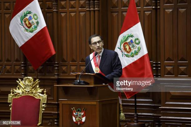 Martin Vizcarra Peru's president speaks during a swearing in ceremony in Lima Peru on Friday March 23 2018 Vizcarra assumed Peru's highest office...