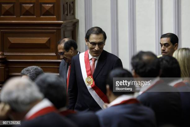 Martin Vizcarra Peru's president speaks to attendees during a swearing in ceremony in Lima Peru on Friday March 23 2018 Vizcarra assumed Peru's...
