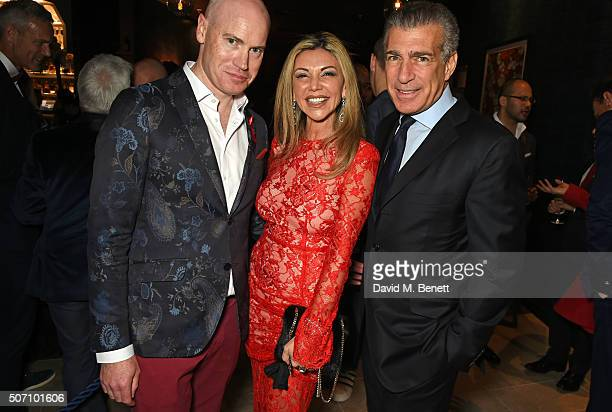 Martin Williams Lisa Tchenguiz and Steve Varsano attend the launch of M Victoria Street in aid of Terrence Higgins Trust on January 27 2016 in London...