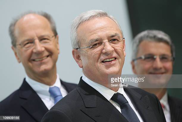 Martin Winterkorn Chairman of German carmaker Volkswagen AG and board members Hans Dieter Poetsch and Rupert Stadler arrive at the company's annual...