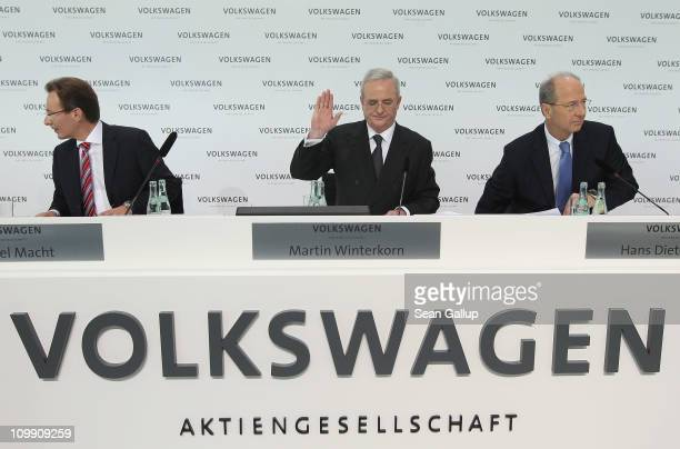 Martin Winterkorn Chairman of German carmaker Volkswagen AG and board members Hans Dieter Poetsch and Michael Macht arrive at the company's annual...