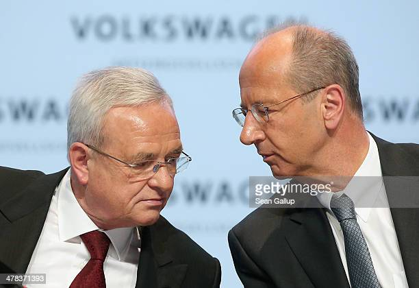 Martin Winterkorn Chairman of German carmaker Volkswagen AG and VW financial officer Hans Dieter Poetsch speak at the company's annual press...