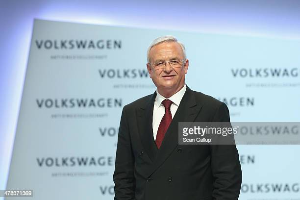 Martin Winterkorn Chairman of German carmaker Volkswagen AG departs after speaking at the company's annual press conference to announce financial...