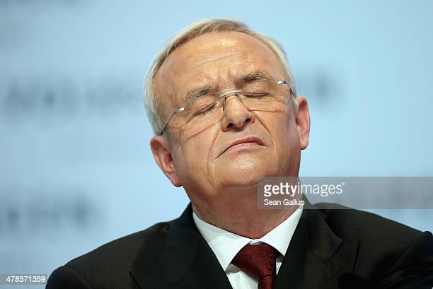Martin Winterkorn Chairman of German carmaker Volkswagen AG speaks at the company's annual press conference to announce financial results for 2013 on...