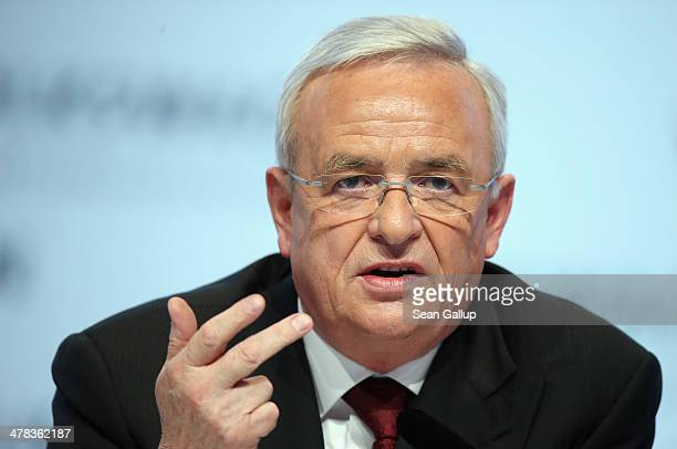 Martin Winterkorn Chairman of the German carmaker Volkswagen AG speaks at the company's annual press conference to announce financial results for...