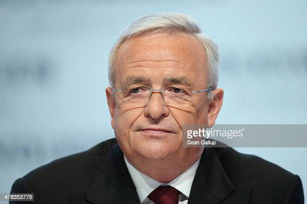 Martin Winterkorn Chariman of the German carmaker Volkswagen AG arrives for the company's annual press conference to announce financial results for...
