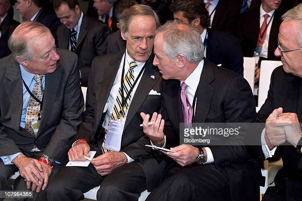 Martin Winterkorn chief executive officer of Volkswagen AG from right looks on as Senator Robert Bob Corker a Republican from Tennessee Senator Tom...