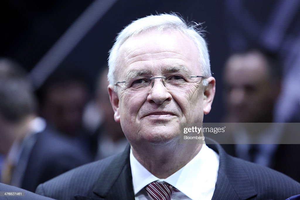 Martin Winterkorn, chief executive officer of Volkswagen AG, pauses during a news conference ahead of the opening day of the 84th Geneva International Motor Show in Geneva, Switzerland, on Monday, March 3, 2014. The International Geneva Motor Show will run from Mar. 4, and showcase the latest models from the world's top automakers. Photographer: Chris Ratcliffe/Bloomberg via Getty Images