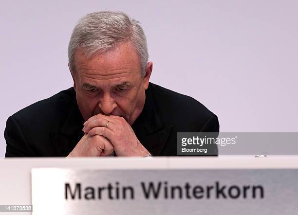 Martin Winterkorn chief executive officer of Volkswagen AG pauses during the Porsche Automobile Holding SE results news conference in Stuttgart...