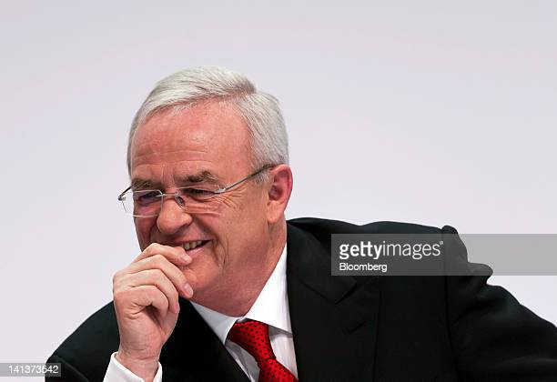 Martin Winterkorn chief executive officer of Volkswagen AG reacts during the Porsche Automobile Holding SE results news conference in Stuttgart...