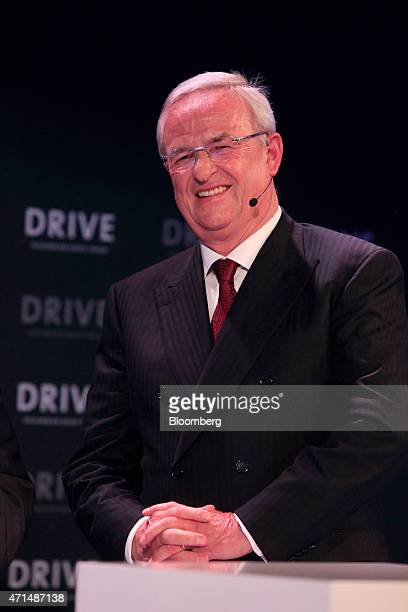 Martin Winterkorn chief executive officer of Volkswagen AG reacts during the reopening of a VW showroom in Berlin Germany on Tuesday April 28 2015...