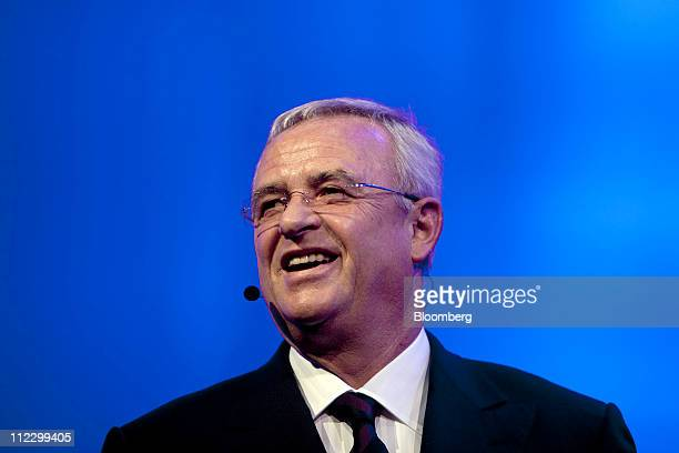 Martin Winterkorn chief executive officer of Volkswagen AG speaks at the launch of the newly redesigned Volkswagen Beetle prior to the start of the...