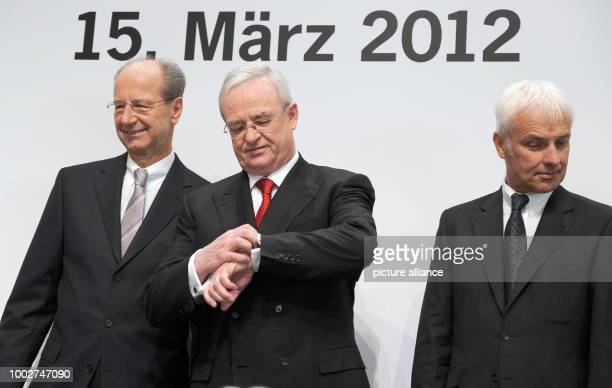 ARCHIVE  Martin Winterkorn the CEO of Porsche Automobil Holding SE next to director Hans Dieter Poetsch and Matthias Mueller the CEO of Volkswagen AG...