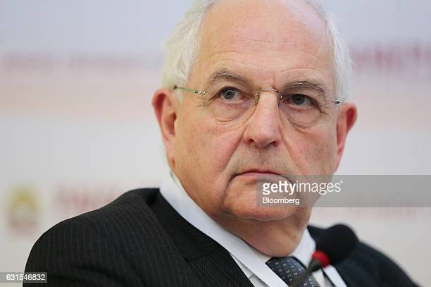 Martin Wolf chief economics commentator at the Financial Times pauses during a panel session at the Gaidar Forum in Moscow Russia on Thursday Jan 12...