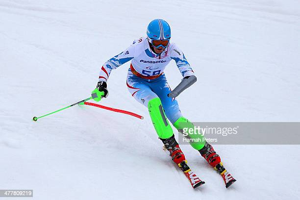 Martin Wuerz of Austria competes in the Men's SC Slalom Run 1 Standing during day four of Sochi 2014 Paralympic Winter Games at Rosa Khutor Alpine...