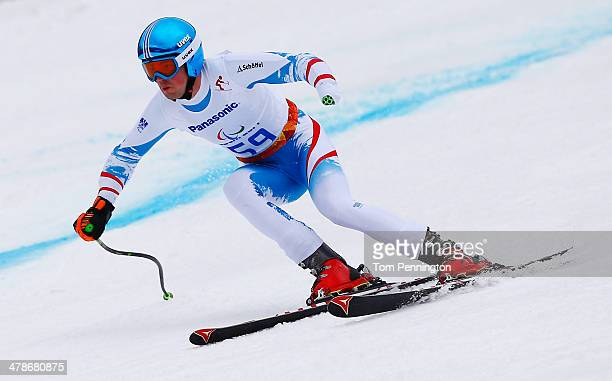 Martin Wuerz of Austria competes in the Men's Super Combined Standing Super G during day seven of the Sochi 2014 Paralympic Winter Games at Rosa...