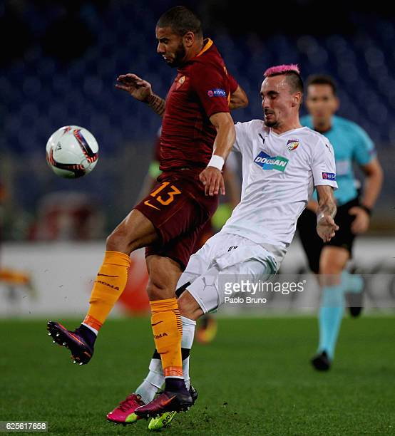 Martin Zeman of FC Viktoria Plzen competes for the ball with Bruno Peres AS Roma during the UEFA Europa League match between AS Roma and FC Viktoria...