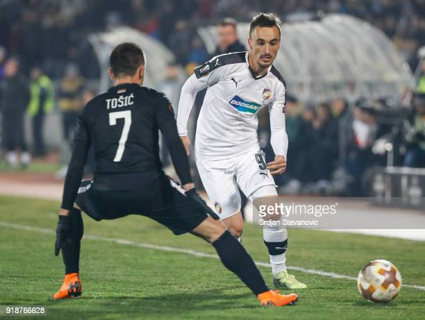 Martin Zeman of Viktoria Plzen in action against Zoran Tosic of Partizan during UEFA Europa League Round of 32 match between Partizan Belgrade and...