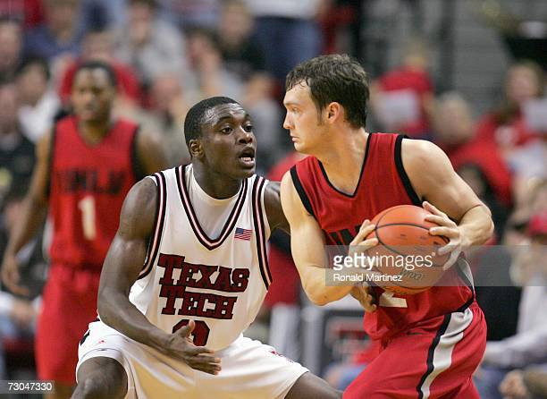 Martin Zeno of the Texas Tech Red Raiders guards Kevin Kruger of the UNLV Rebels at United Spirit Arena on December 28 2006 in Lubbock Texas