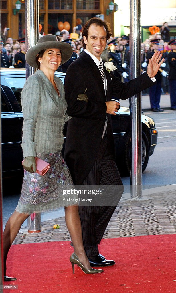 Martin Zorreguieta and wife arrive at the church for the wedding of Crown Prince Willem Alexander and Crown Princess Maxima Zorreguieta February 2, 2002 in Amsterdam, Holland.
