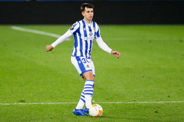 Martin Zubimendi of Real Sociedad during the UEFA Europa League match between Real Sociedad v Napoli at the Estadio Anoeta on October 29 2020 in San...
