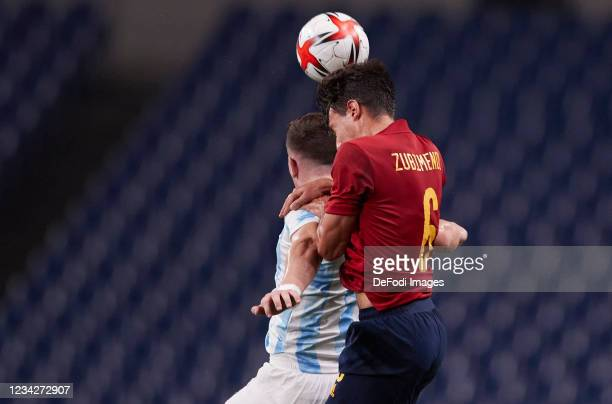 Martin Zubimendi of Spain controls the ball during the Men's Group C match between Spain and Argentina on day five of the Tokyo 2020 Olympic Games at...