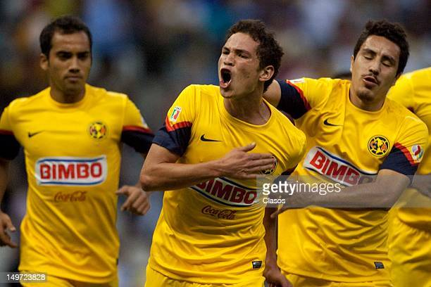 Martin Zuniga of America celebrates a goal during the Torneo Copa MX match between America and Veracruz in the Estadio Azteca on august 2 2012 in...