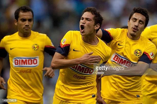 Martin Zuniga of America celebrates a goal during the Torneo Copa MX match between America and Veracruz in the Estadio Azteca on august 2 2012 in...