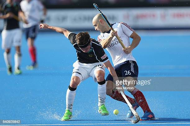 Martin Zwicker of Germany and Nick Catlin of Great Britain during the FIH Mens Hero Hockey Champions Trophy 3rd4th place match between Germany and...