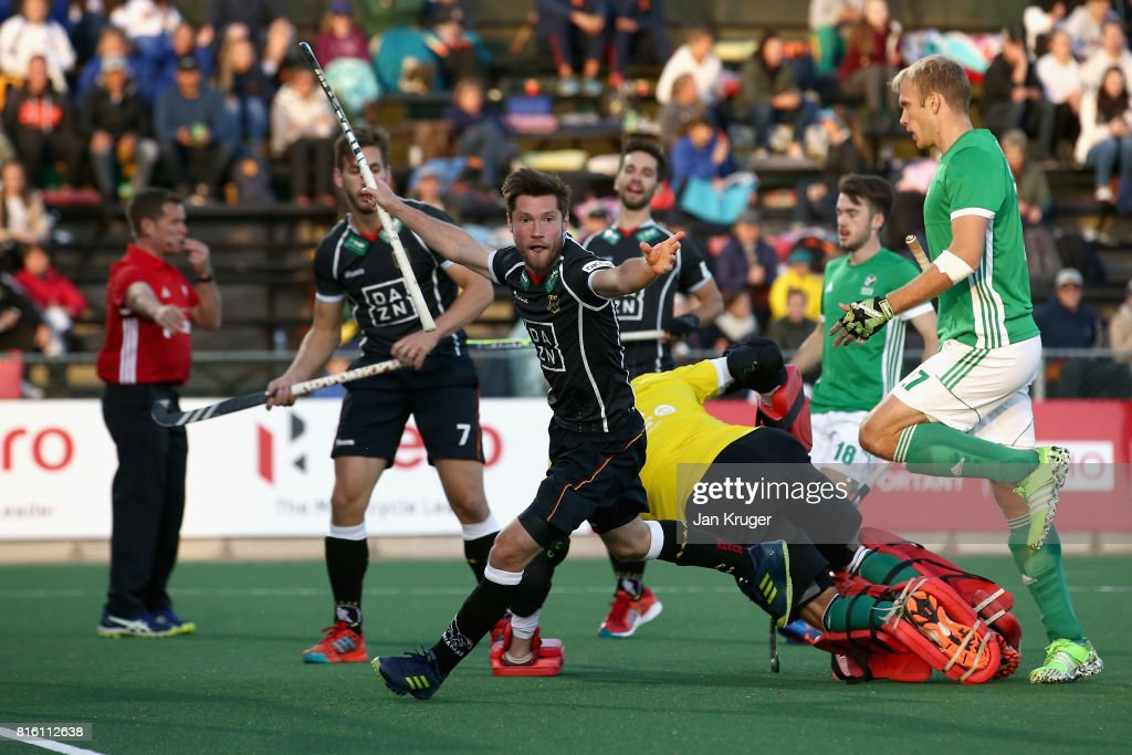 Martin Zwicker of Germany celebrates scoring a goal during the Group B match between Germany and Ireland on day five of the FIH Hockey World League - Men's Semi Finals on July 17, 2017 in Johannesburg, South Africa.
