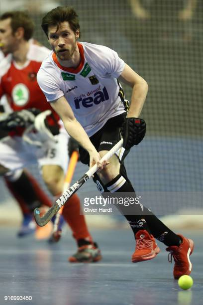 Martin Zwicker of Germany in action during the Mens Gold Medal Indoor Hockey World Cup Berlin Final Day match between Germany and Austria on February...