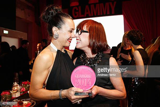 Martina Arfwidson and Gun Nowak pose with their awards during the Glammy Award by Glamour Magazine on March 6, 2014 in Munich, Germany.