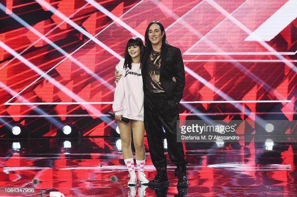 Martina Attili and Manuel Agnelli attend X Factor tv show at Teatro Linear Ciak on November 22 2018 in Milan Italy