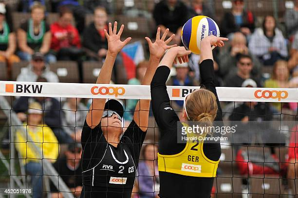 Martina Bonnerova of Czech Republic and Julia Sude of Germany in action during the women main draw match LudwigSude v BonnerovaHermannova as part of...