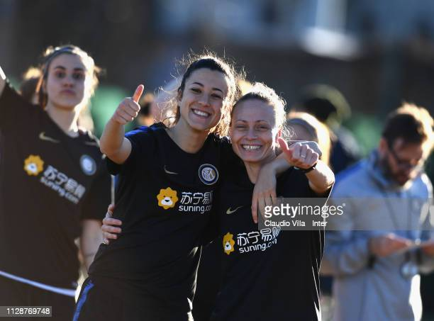 Martina Brustia and Roberta D'Adda of FC Internazionale Women pose for a photo during a training session at Suning Youth Development Centre in memory...