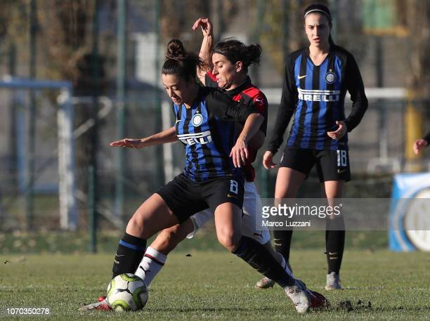 Martina Brustia of FC Internazionale competes for the ball with Marta Carissimi of AC Milan during the FC Internazionale v AC Milan Women Coppa...