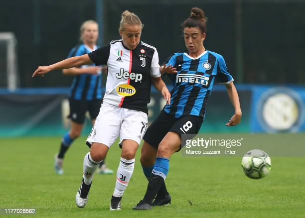Martina Brustia of FC Internazionale competes for the ball with Valentina Cernoia of Juventus FC during the Women Serie A match between FC...