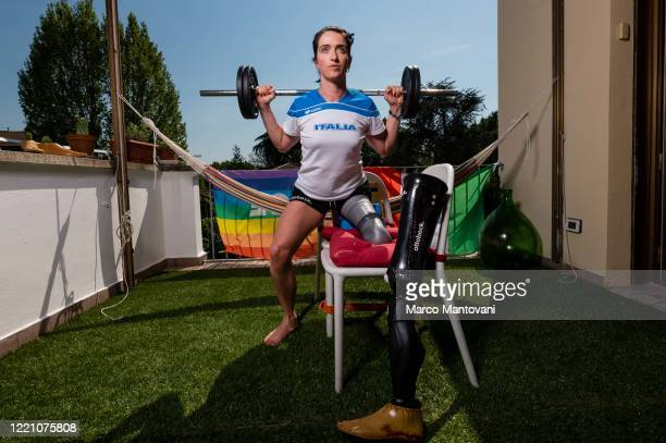 Martina Caironi trains in isolation on April 25 2020 in Bologna Italy Caironi holds the world record for the long jump and the 100 metres category...