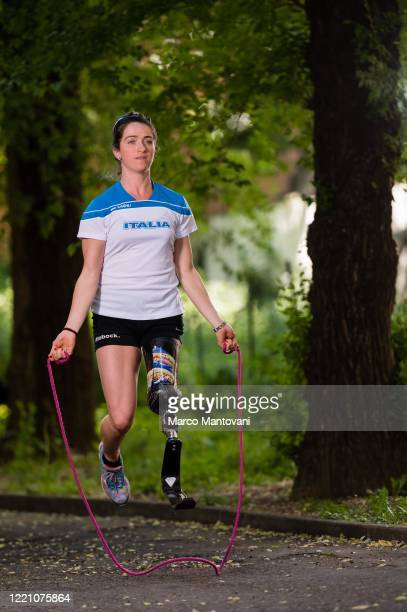 Martina Caironi trains in isolation on April 25, 2020 in Bologna, Italy. Caironi holds the world record for the long jump and the 100 metres category...