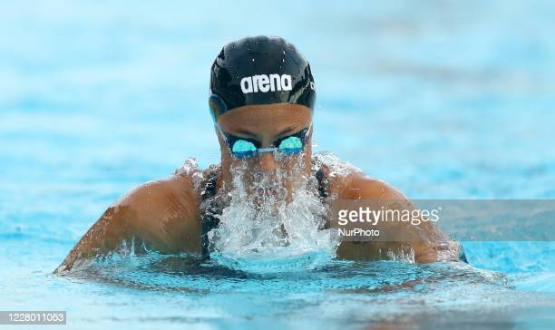 Martina Carraro competes in the women's 100m breaststroke during the international swimming trophy Frecciarossa Settecolli in Rome Italy on August 12...
