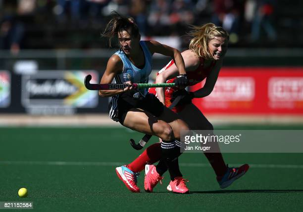 Martina Cavallero of Argentina battles with Hollie Webb of England during day 9 of the FIH Hockey World League Women's Semi Finals 3rd/ 4t place...
